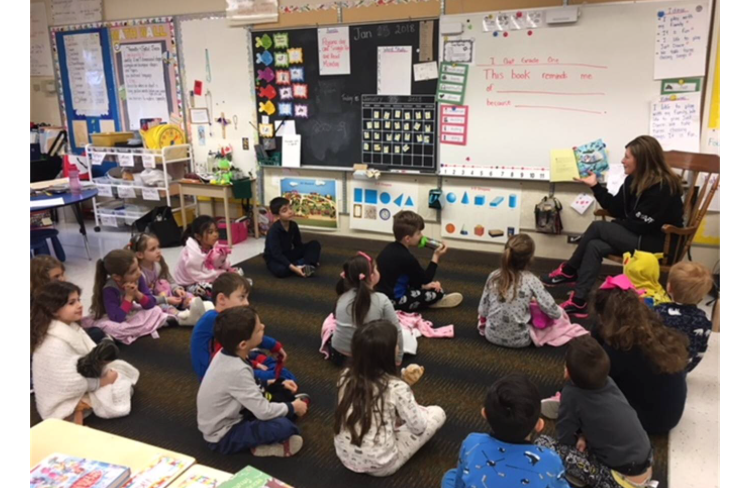Snuggle Up and Read Day on January 29, 2018 St. Clare of Assisi CES with Author Daniella Grsic reading her book Lucky Stars and talking about her first book Deep Down Inside as part of her Wellness Series