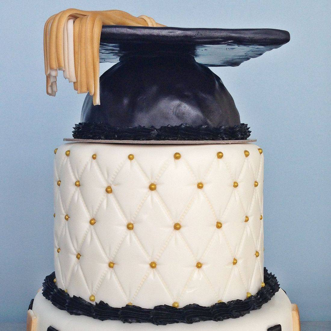 Custom  Gold Black Graduation Cake  Milwaukee