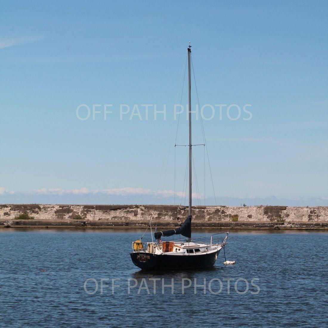 photography, Lake Ontario, sail boat, summer, water, break wall, Oswego
