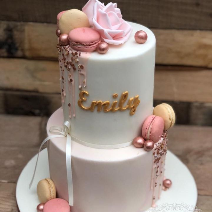 birthday cake pretty subtle elegant pink ivory peach macaron drop sprinkles lustre