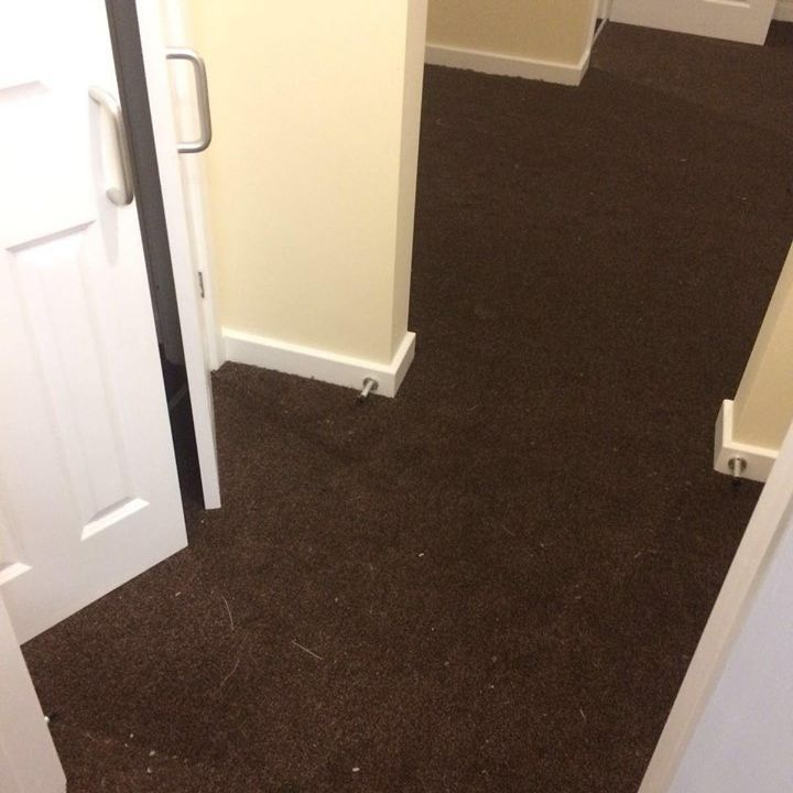 Light brown hall carpet