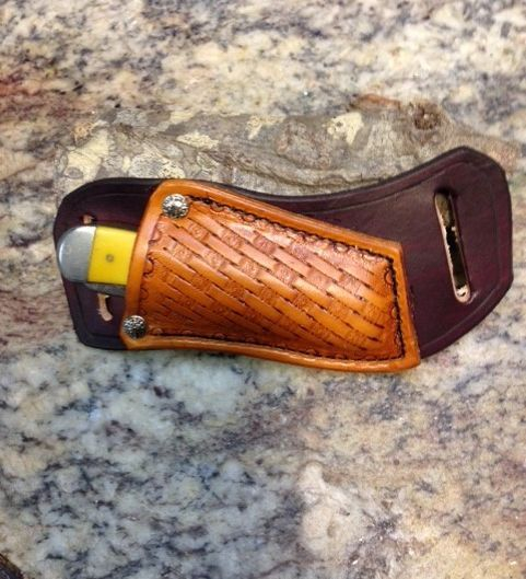 cross draw sheath , trapper knives , tooled , stockman knives ,