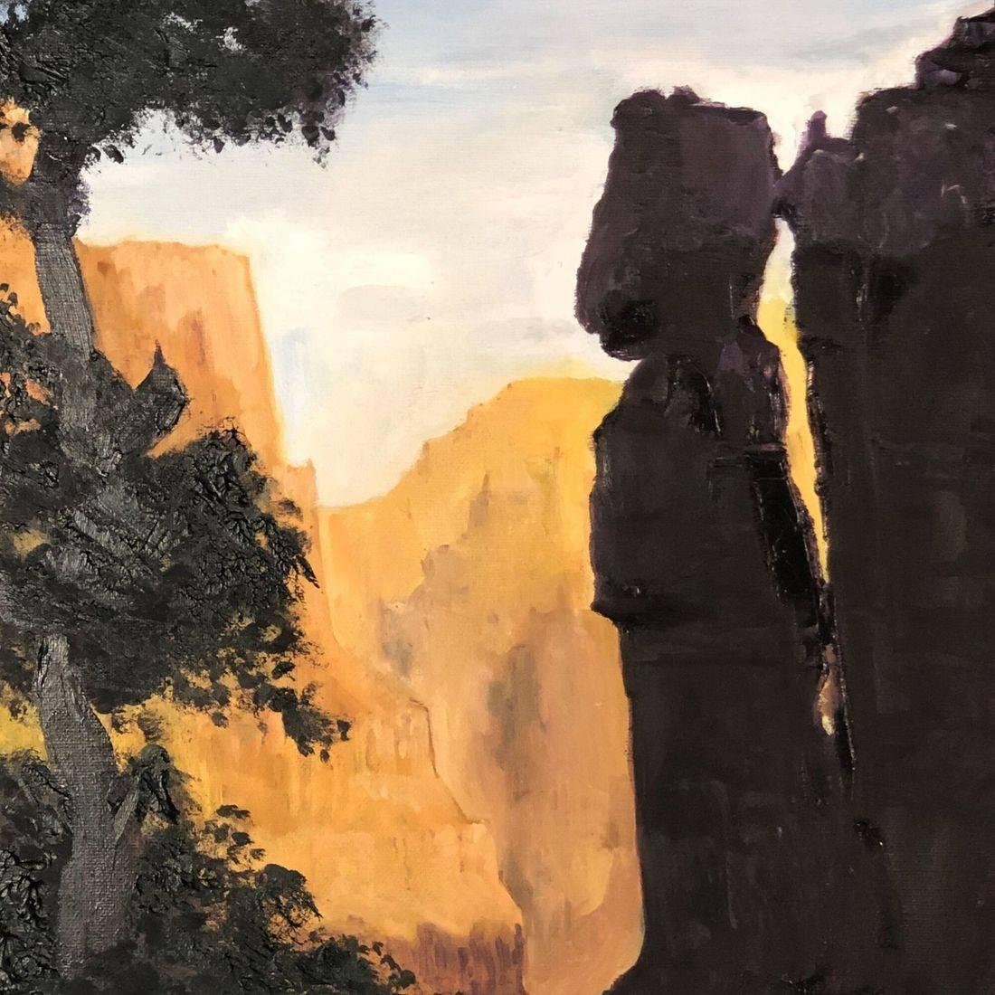 "12x24"" oil on canvas, Green River, Utah, Rafting, camping, Nefertiti, canyon, art, painting, river life, boating, boat'n, Sandy Bray White"