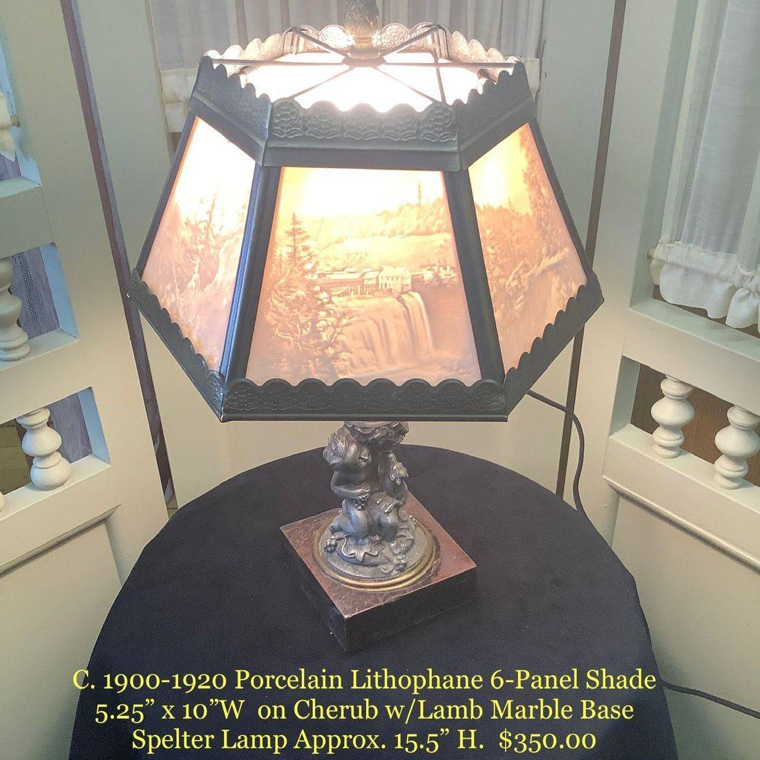 "C. 1900-1910 Porcelain Lithophane 6-Panel Shade on Cherub w/Lamb Marble Base Spelter Lamp  Approx. 15.5""H.   $350.00"