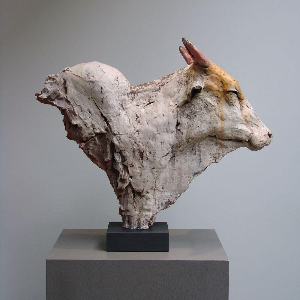 Ceramic sculpture. Indian Cow.
