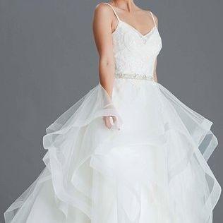 Princess, flared layered skirt, ballgown, designer wedding dress, Blush wedding dress