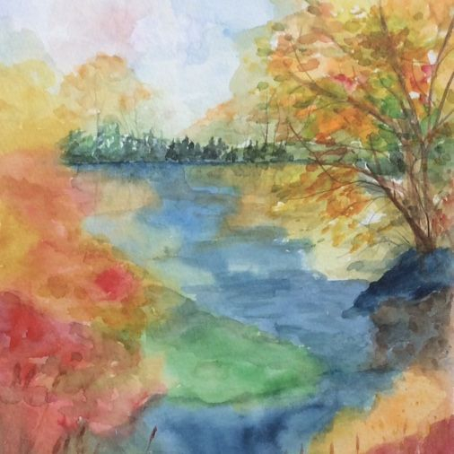 Watercolour Abstract Landscape; Autumn; By Barbara Polc