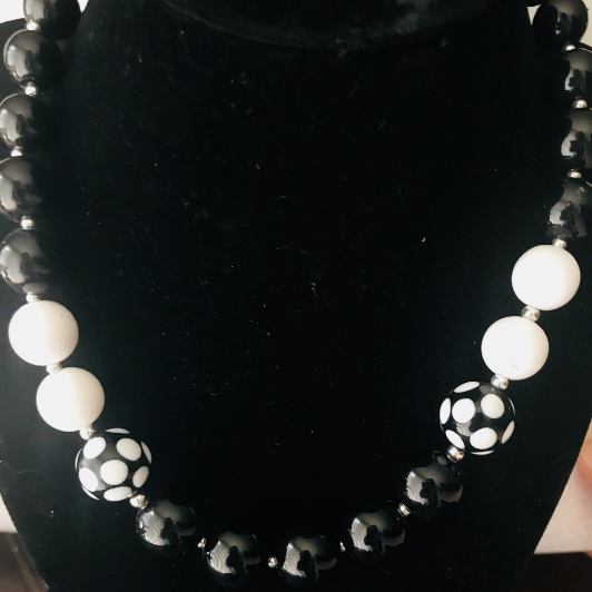 Black, White, Beaded, Beads, Necklace, Charity, Pearl, Costume Jewelry