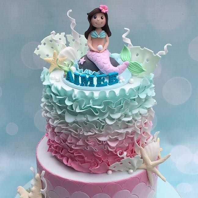 Mermaid  Birthday Ombre Ruffle Coral Seaweed Starfish