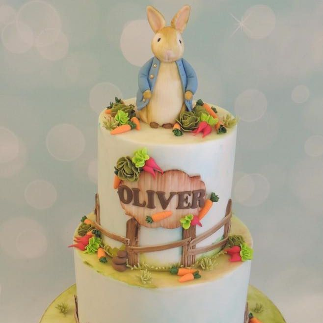 Petter Rabbit Birthday Cake Novelty Painted Carrots Radishes