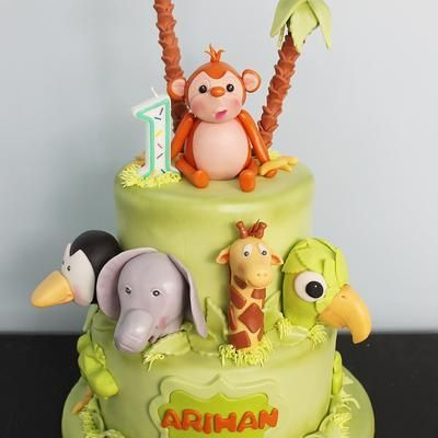 Custom Jungle Animals Safari Cake Milwaukee