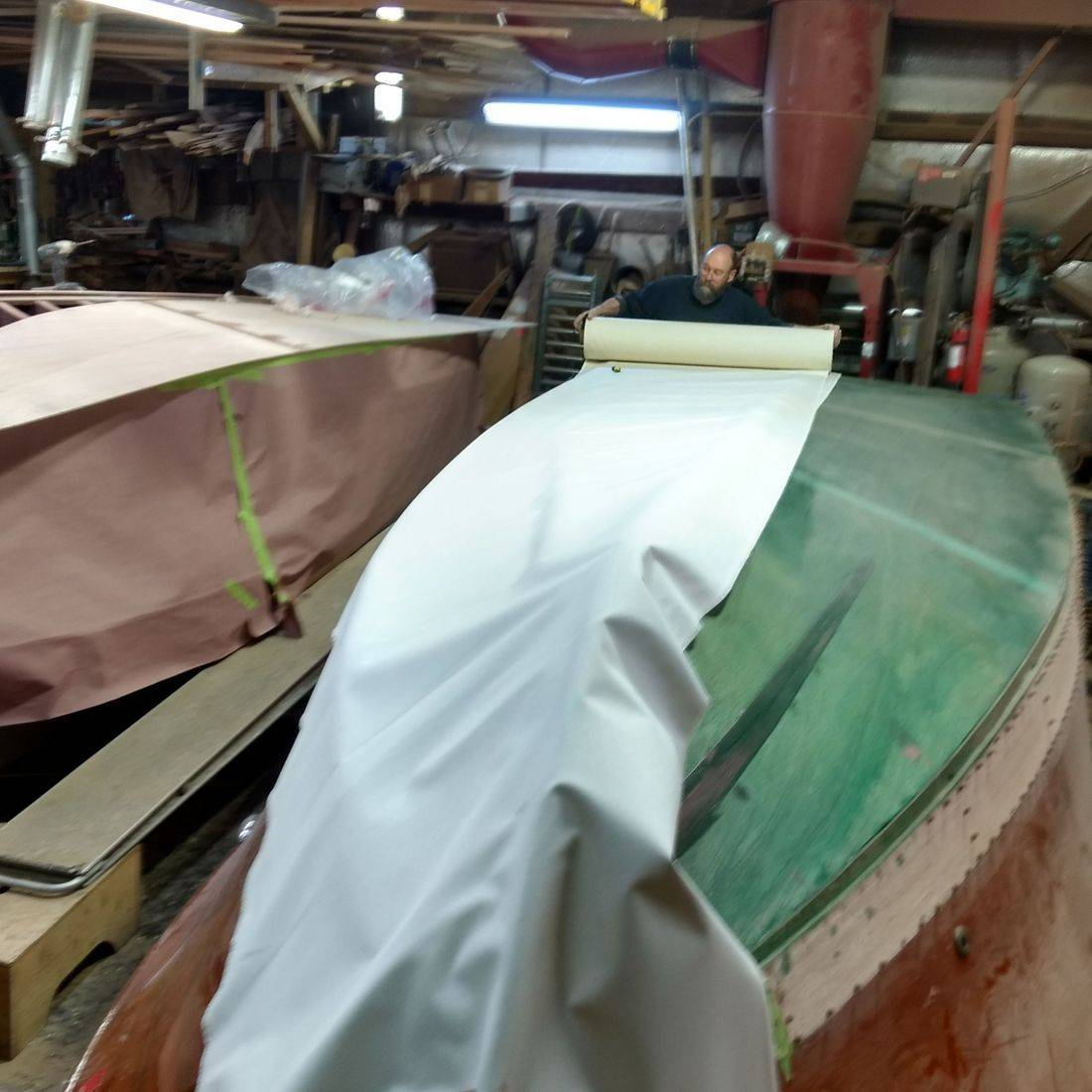 Bottom replacement in Bergersen wood boat shop