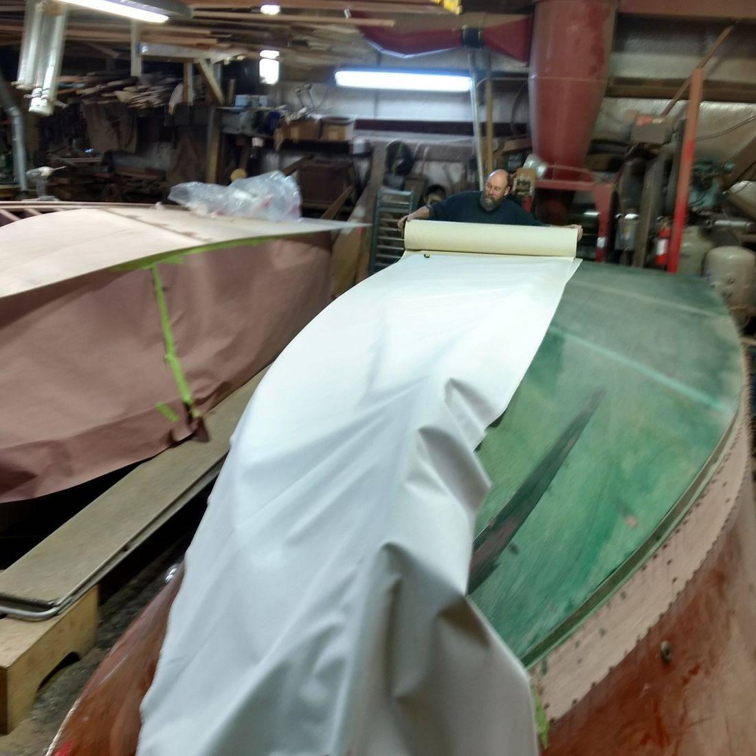 Bottom replacement in Bergersen wood boat shop