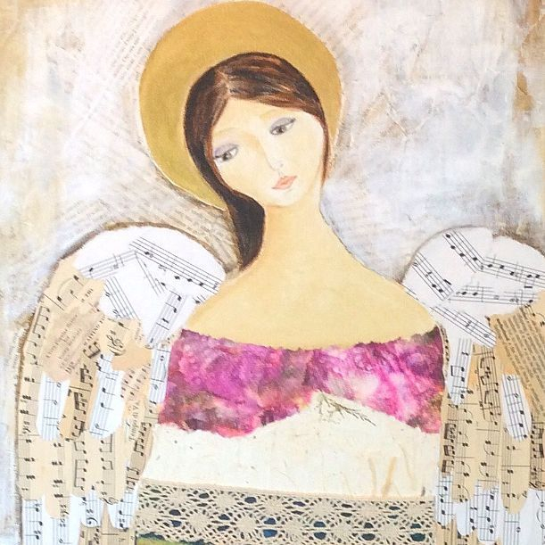 Angel Collage Art. Fibre  Art And Soul By The Lake.  Barbara Polc Artist. Collage Art.  Collage On Canvas. Angel Art. Angel Collage. Paper Art. Inspirational Art. Angels