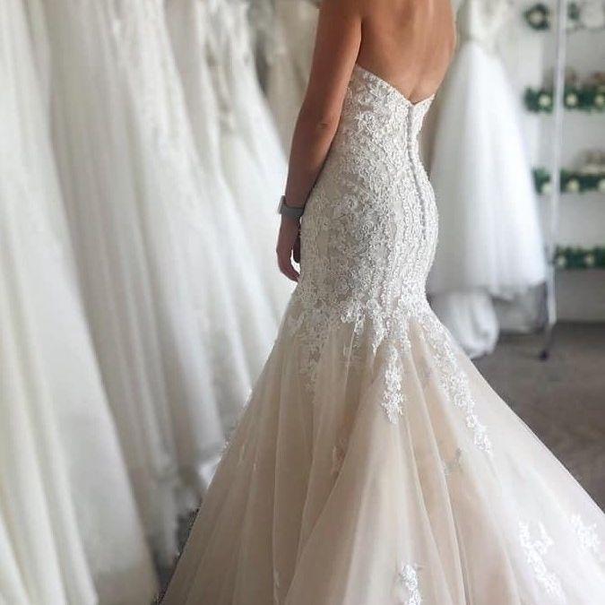 sweetheart fishtail wedding dress