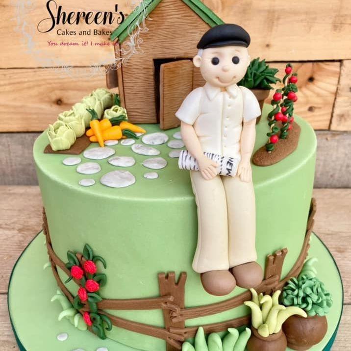 Garden Grandad Birthday Cake Vegetables Shed