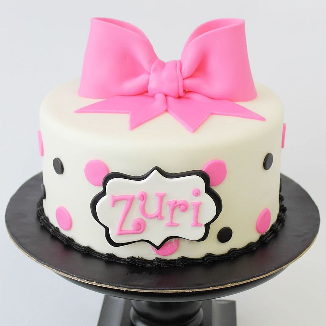 Custom  Pink black polka dots Cakes Milwaukee