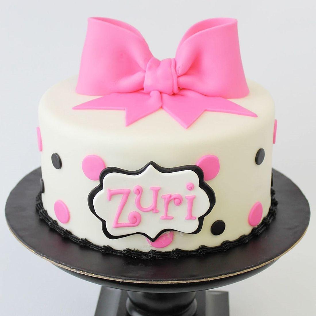 Custom  Pink black polka dots Cakes Milwaukee