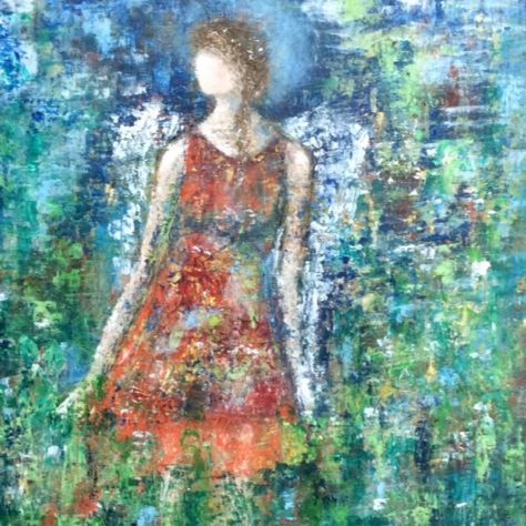 angel painting, oil painting of angel, oil and cold wax painting, abstract angel, inspirational art