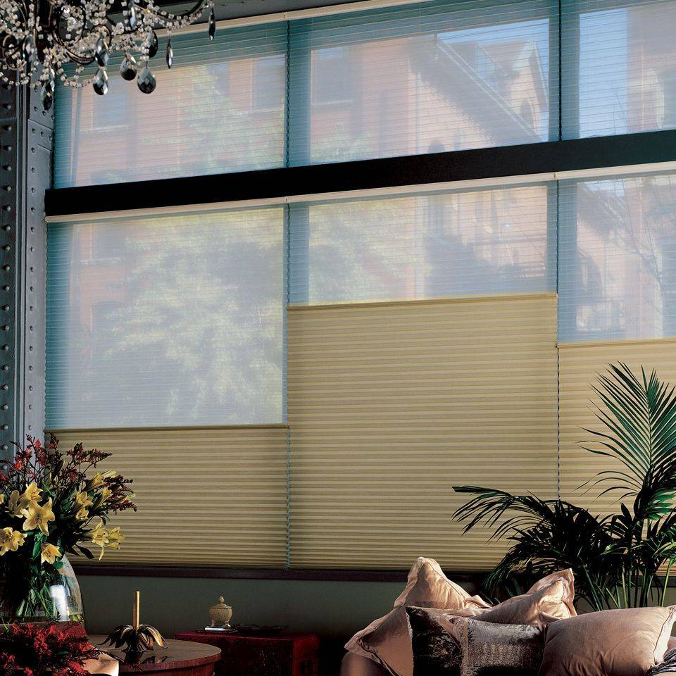 Hunter Douglas Duette Honeycomb blinds offer the Duolite option, which combines two fabrics of different opacities in one blind, providing an ideal balance between light and privacy.