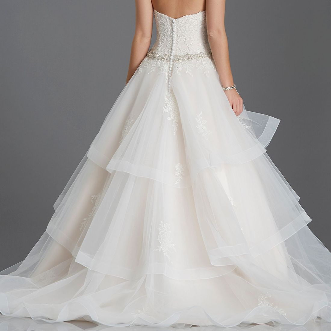 Layered tulle ballgown crystal bodice