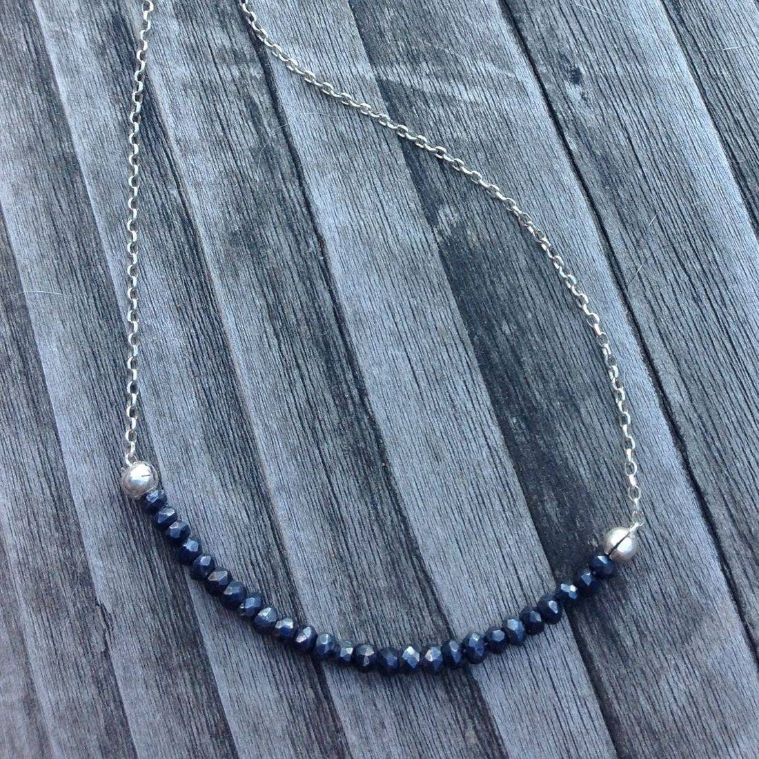 handmade, faceted spinel, gemstone necklace on silver chain,