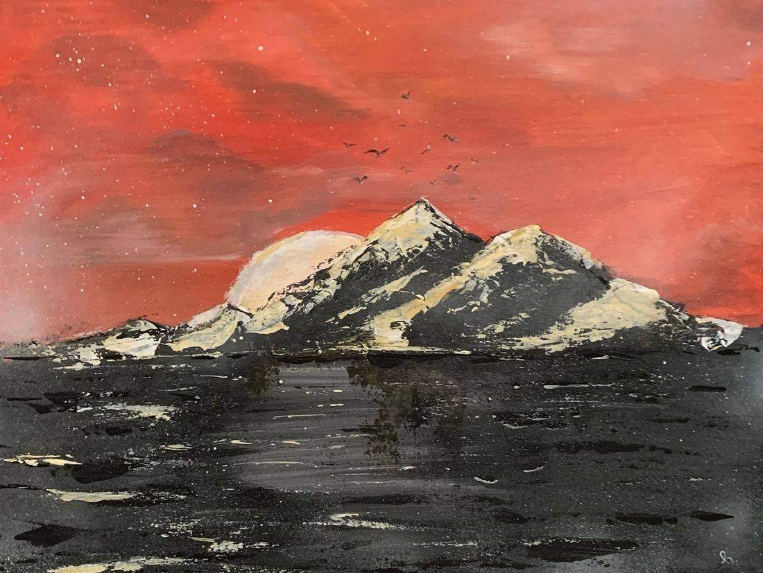 Moon Shadow, snow capped mountains, seagulls, Oregon Artist, Abstract Artist, Local Artist, Zorn Limited Palette