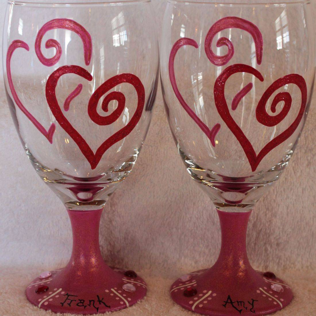 heart wine glasses