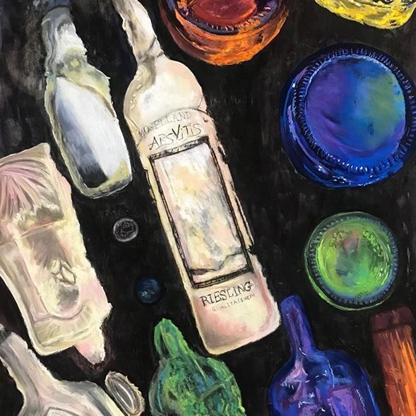 "JJohnson - The Bottle Wall- Pastels - 18""x24""- $700-"