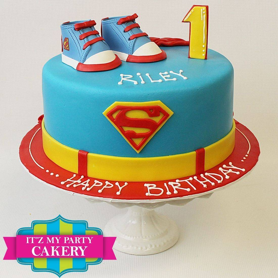 Custom Superman  Sugar Shoe First Birthday Cake Milwaukee