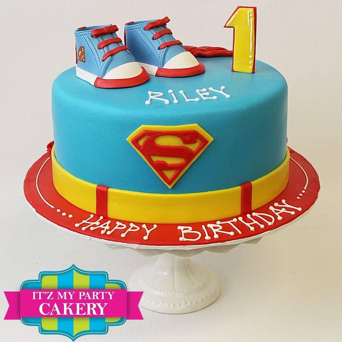Custom Superman  Sugar Shoe First Birthday Cake Milwaukee