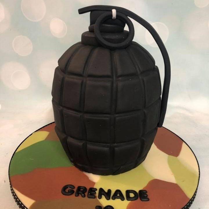 Hand Grenade Birthday Cake 3D Standing