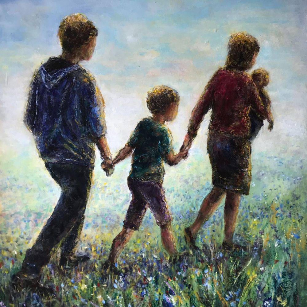 Family walking through flowers: acrylic by Marcia Kuperberg