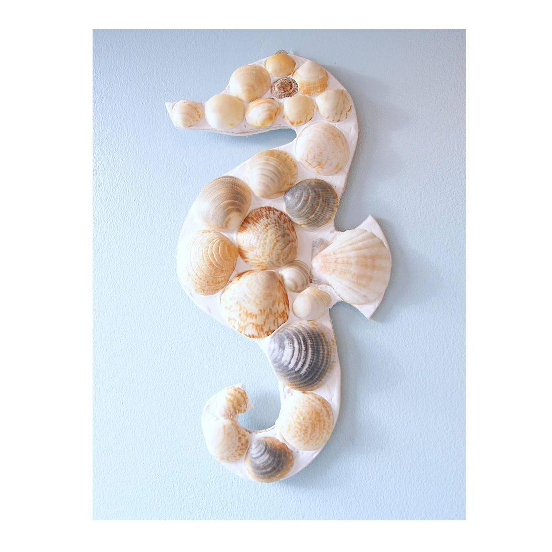 23 Mosaic Shell brown sea horse