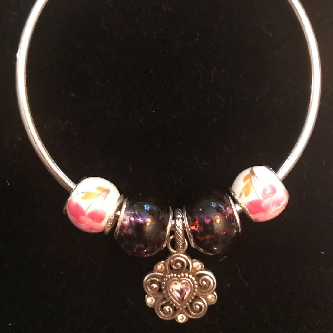 Pink Murano Glass Beaded Bracelet