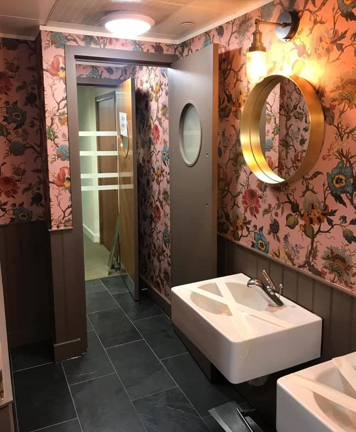 Bathroom decorating with wallpaper