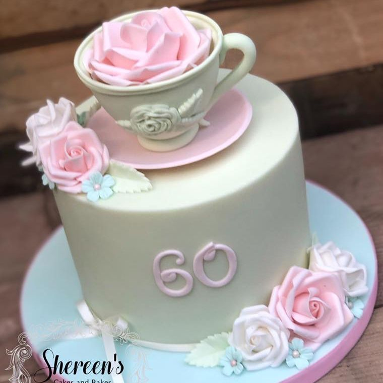 birthday cake pretty teacup 60th pastel rose green pink white