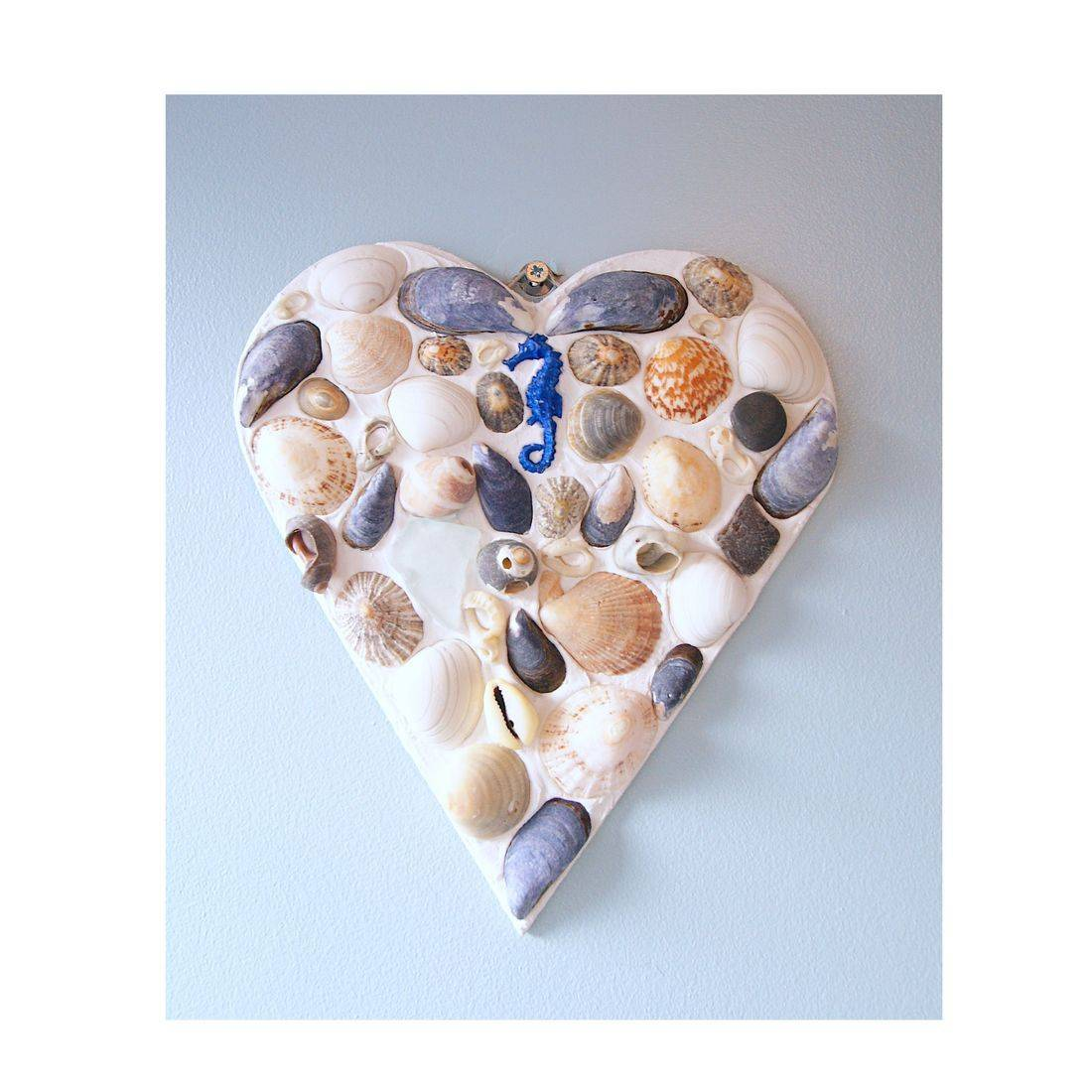 16 Mosaic Shell blue sea horse heart