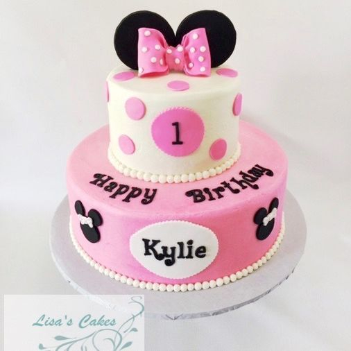 Minnie Mouse Birthday Cake Pink and Black
