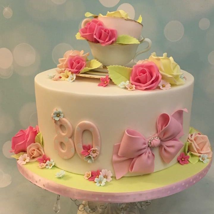 Tea Cup Roses Pretty Bow Cake