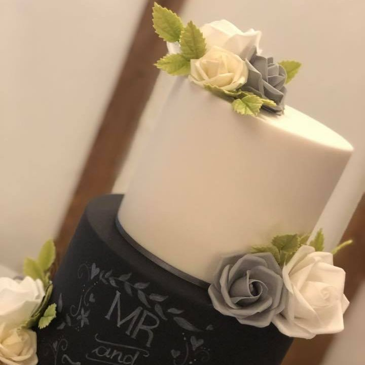 Wedding Cake Rustic Drif Wood Grey Ivory White Chalkboard White Writing