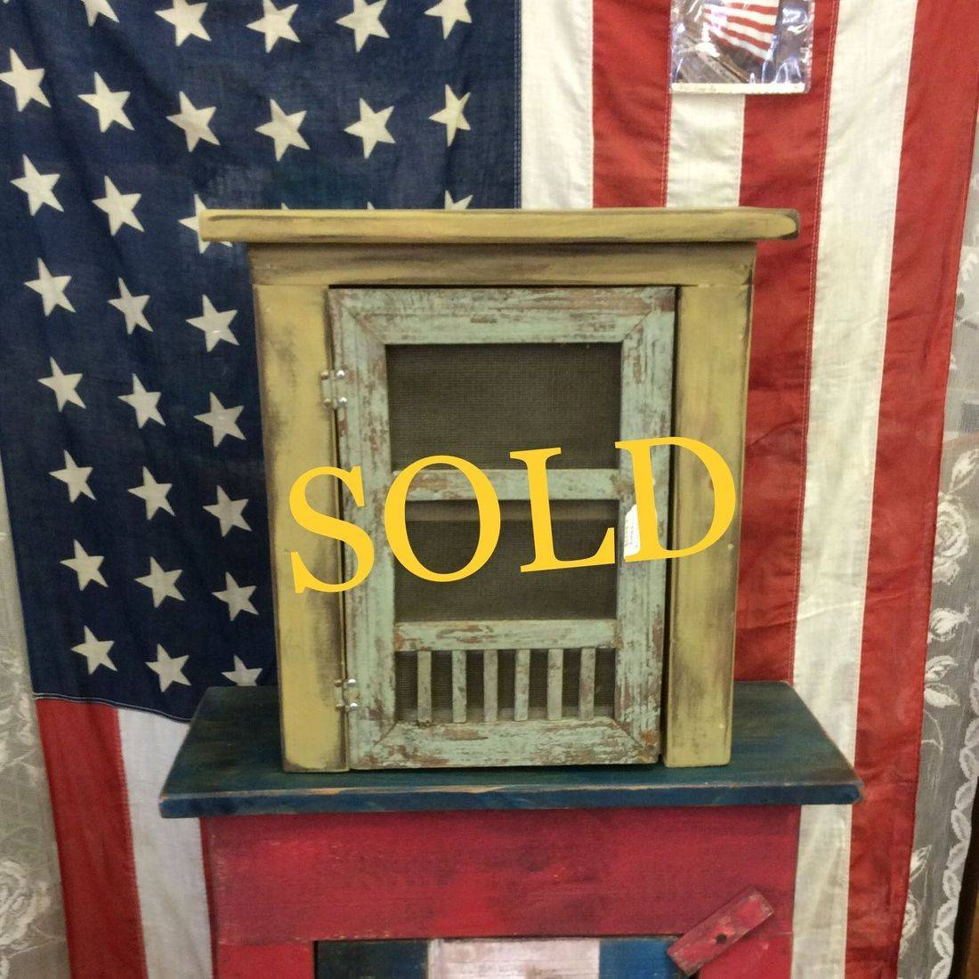 """Primitive Style Small Jelly Cupboard  15""""W x 7-1/4""""D x 15-3/4""""H.  $25.00"""