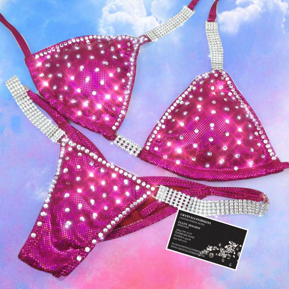 fuchsia red competition bikini