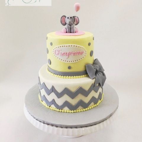 Elephant Baby Shower Cake Grey and Yellow chevron