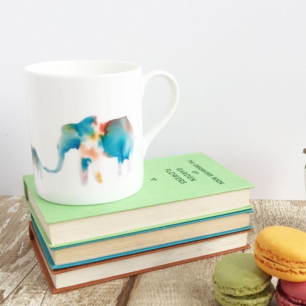Elephant family bone china mug cup watercolour