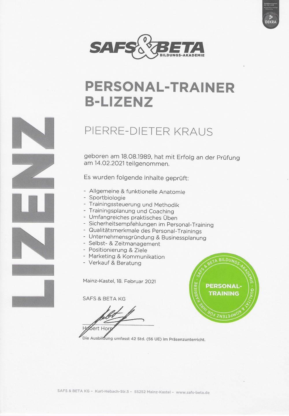 Personal Trainer B-Lizenz