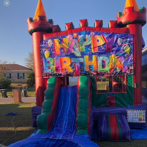 happy Brithday marble castle bounce house slide combo