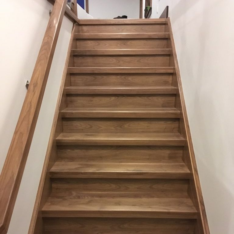 Walnut Stairs And Railings With Glass