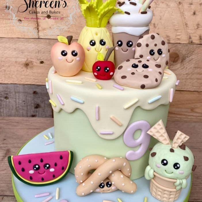 Kawaii Birthday Cake Cute Watermelon Ice Cream Peach Pineapple Frappe Milkshake Chocolate Chip Cookie Pretzel Cherry