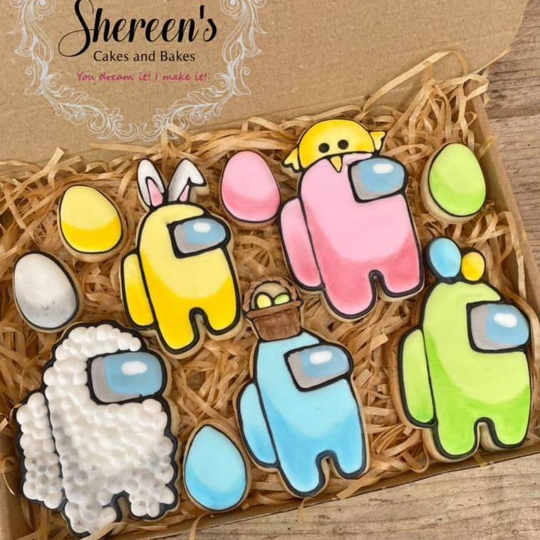 Among us Easter Cookies sheep egg chick bunny ears